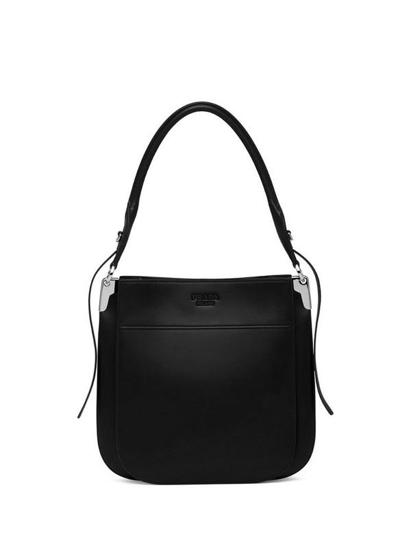 Prada Margit embossed logo shoulder bag in black
