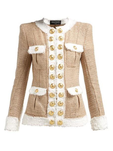 Balmain - Contrast Trimmed Tweed Jacket - Womens - Beige White