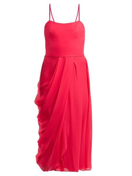 Carolina Herrera - Draped Silk Chiffon Midi Dress - Womens - Pink