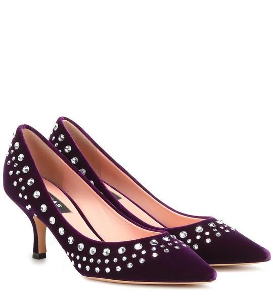 Rochas Embellished velvet pumps in purple