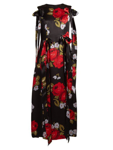 Simone Rocha - Bow Trim Floral Print Silk Satin Dress - Womens - Black Multi