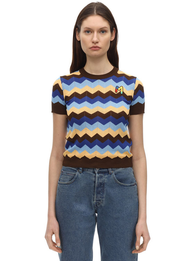 M MISSONI Cotton Rib Knit Top in blue / brown / yellow