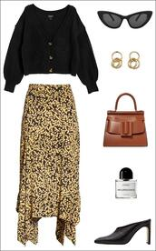 le fashion image,blogger,cardigan,sunglasses,jewels,bag,skirt,spring outfits,printed skirt,black sweater