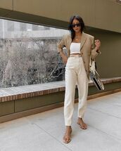 jeans,high waisted jeans,flat sandals,blazer,crop tops,dior bag