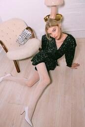 dress,stars,wrap dress,mini dress,tights,elsa hosk,model,instagram