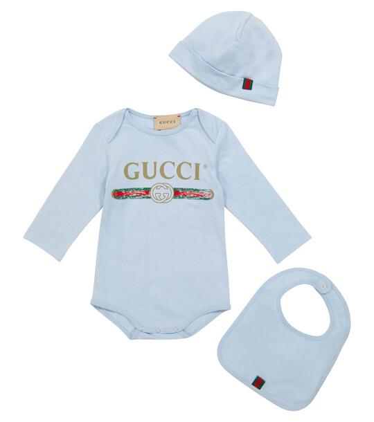 Gucci Kids Baby logo cotton bodysuit, hat and bib set in blue