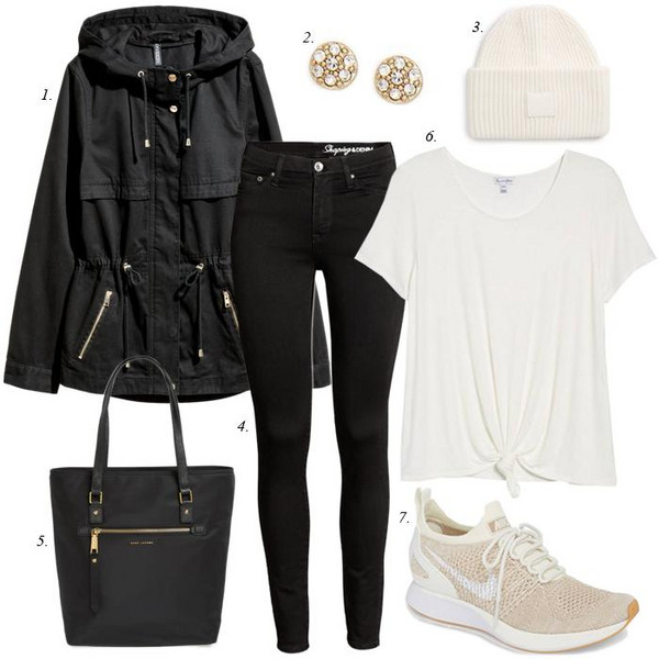 dailystylefinds blogger coat jewels sweater hat jeans bag t-shirt shoes