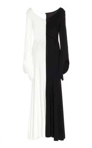 A.W.A.K.E. MODE Contrast Stretch-Jersey Midi Dress Size: 36 in black