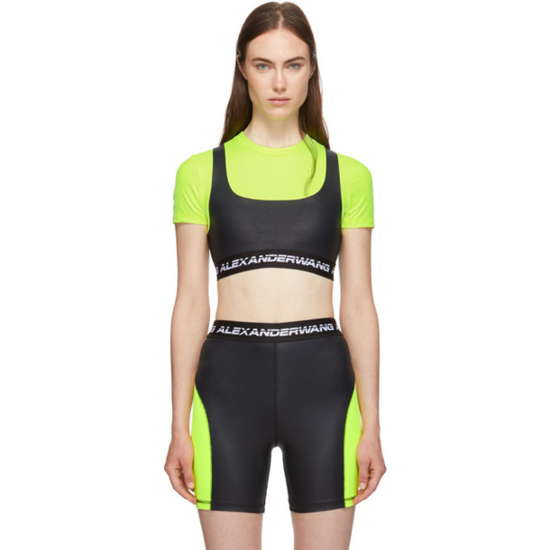 alexanderwang.t Black and Yellow Logo Elastic Wash and Go T-Shirt
