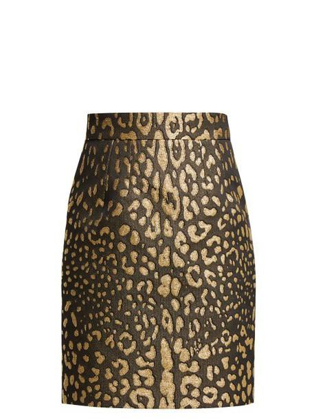 Dolce & Gabbana - High Rise Leopard Print Jacquard Mini Skirt - Womens - Leopard