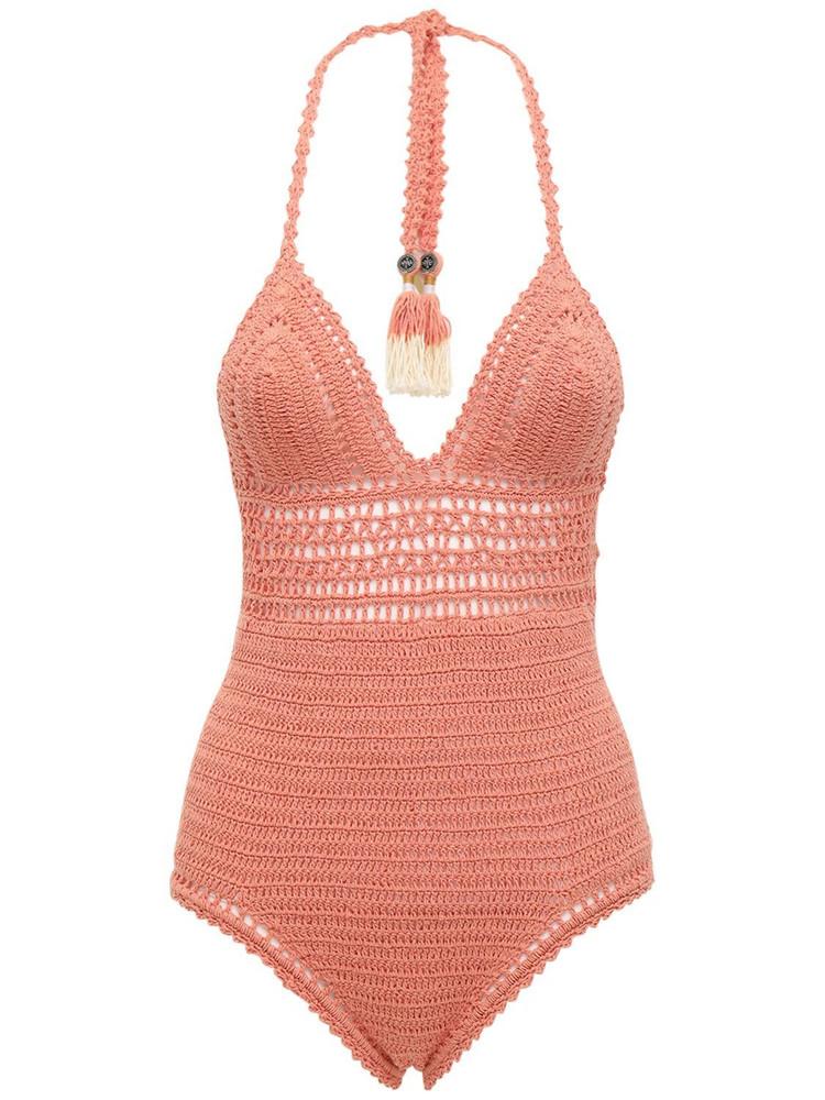 SHE MADE ME Zari Crocheted One Piece Swimsuit in peach