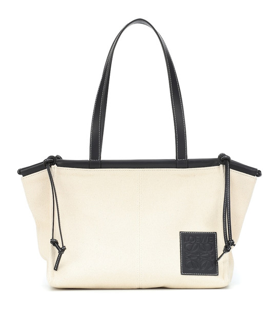 Loewe Cushion Small canvas tote in white