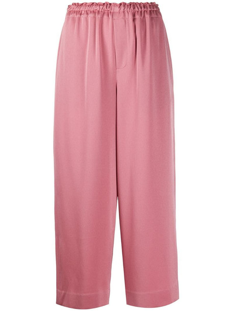 Vince cropped wide-leg trousers in pink