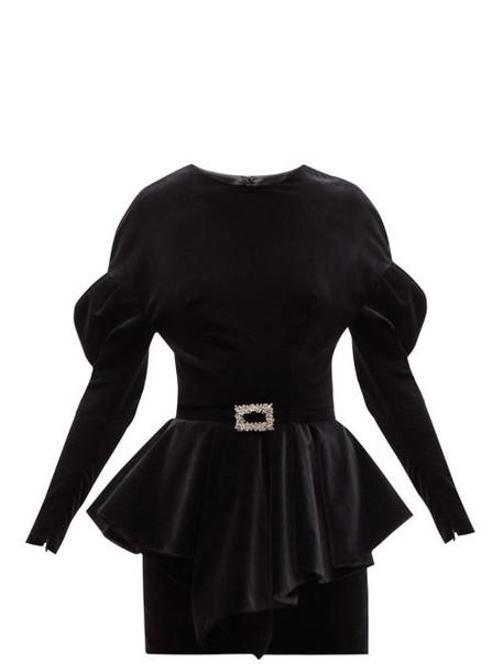 Alexandre Vauthier - Puff Sleeve Peplum Waist Velvet Mini Dress - Womens - Black