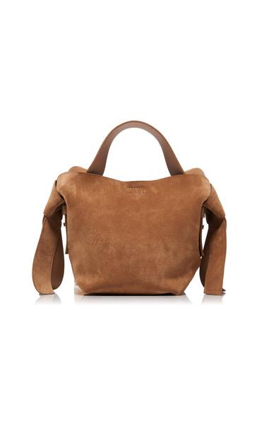 Acne Studios Musubi Mini Knotted Suede Shoulder Bag in neutral