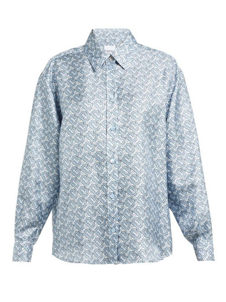 Burberry - Monogram Print Silk Shirt - Womens - Blue Print