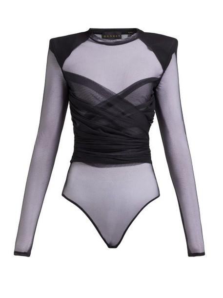 Dundas - Wrap Front Tulle Bodysuit - Womens - Black