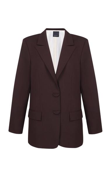 BEVZA Oversized Wool Blazer in brown