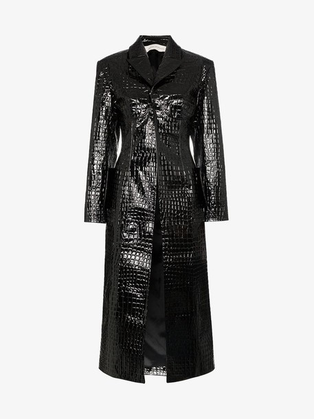 Aleksandre Akhalkatsishvili mock croc trench coat in black