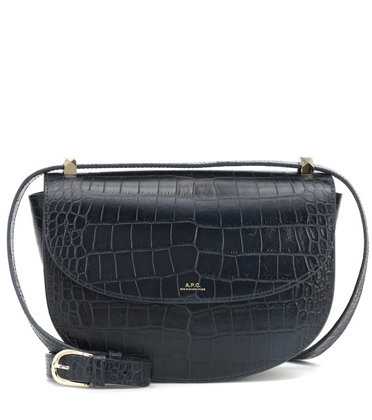 A.P.C. Genève croc-effect leather shoulder bag in black