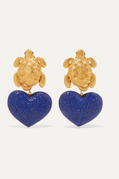 Begüm Khan - Turtle In Love Gold-plated Lapis Lazuli Clip Earrings