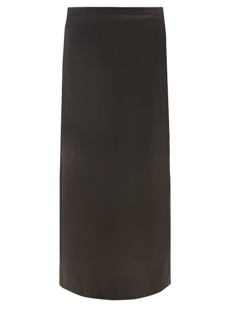 Valentino - Leather Pencil Skirt - Womens - Black