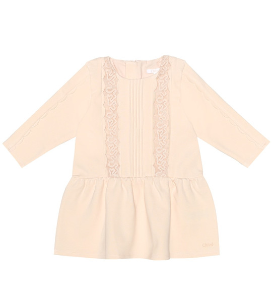Chloé Kids Baby cotton-blend dress in pink