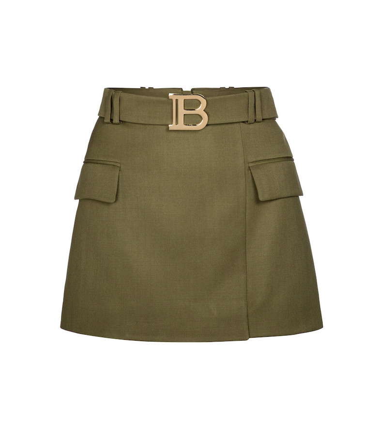 Balmain Exclusive to Mytheresa – Belted wool miniskirt in green