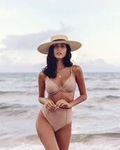 swimwear,bikini top,bikini bottoms,high waisted,swimwear two piece,victoria's secret,sun hat