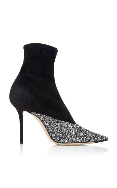 Jimmy Choo Moda Exclusive Brionna Glitter Suede Ankle Boots Size: 36 in silver