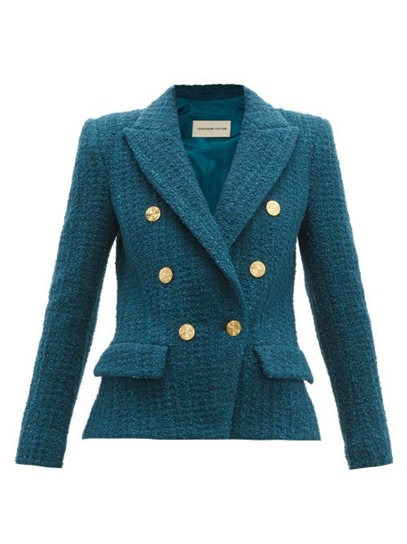 Alexandre Vauthier - Double Breasted Tweed Jacket - Womens - Blue