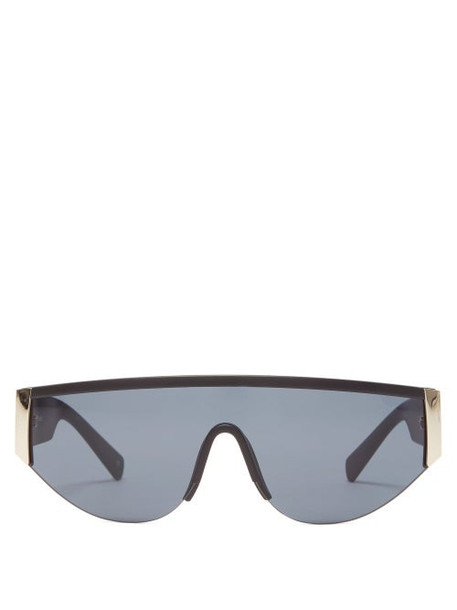 Le Specs - Viper Shield Matte Acetate Sunglasses - Womens - Black Gold