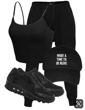 shoes,nike shoes,nike,black,black shoes,joggers,all black everything,black top,outfit idea,outfit,pinterest,tumblr,women,hot,dark