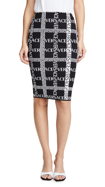Versace Logo Plaid Pencil Skirt in black / white