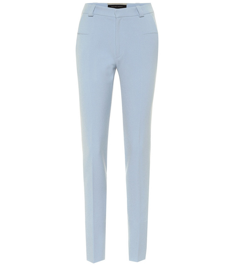 Roland Mouret Lacerta mid-rise slim crêpe pants in blue