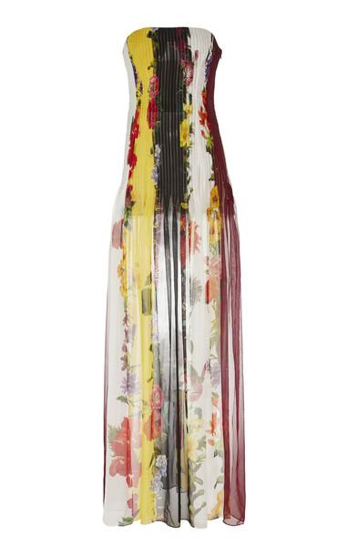 Oscar de la Renta Printed Silk-Chiffon Dress in white