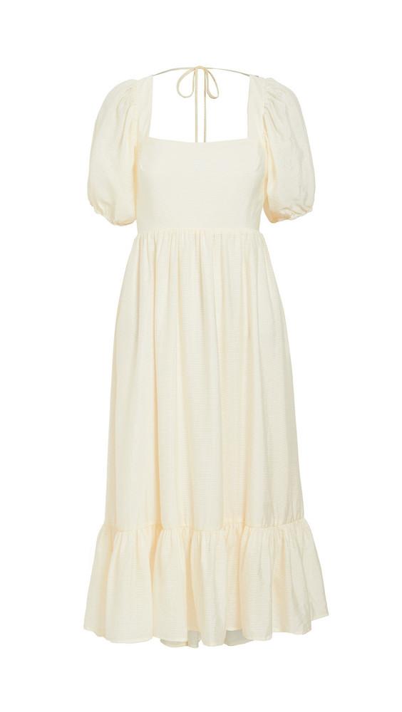 WAYF Lucca Midi Gathered Dress in cream