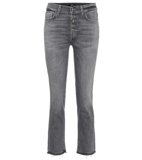 7 For All Mankind The Straight high-rise cropped jeans in grey