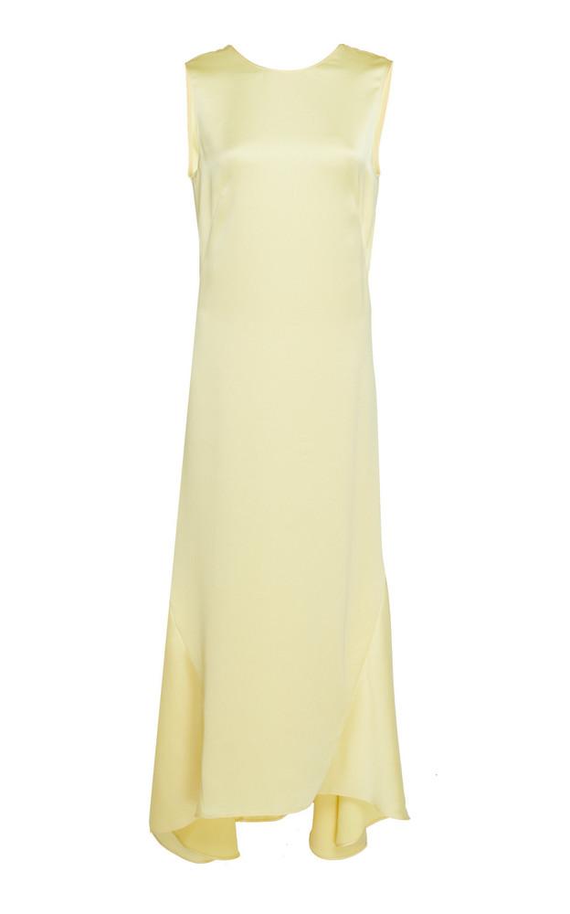 Cédric Charlier Satin A-Line Midi Dress in yellow