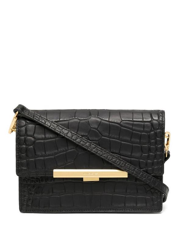 Lancaster Exotic crocodile-effect crossbody bag in black
