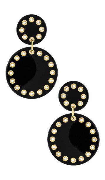 Lele Sadoughi Corset Drop Earrings in Black