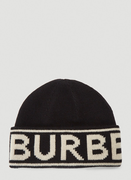 Burberry Logo Intarsia Beanie Hat in Black size One Size