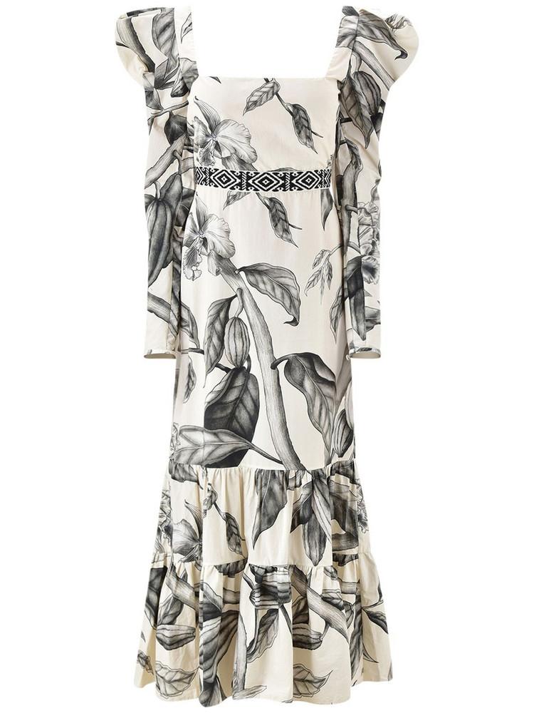 JOHANNA ORTIZ Printed Organic Cotton Poplin Midi Dress in black / white