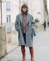 coat,grey coat,acne studios,knee high boots,brown boots,heel boots,jeans,jacket,plaid