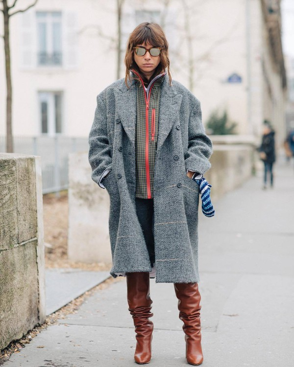 coat grey coat acne studios knee high boots brown boots heel boots jeans jacket plaid