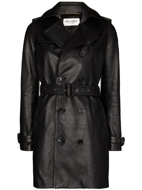Saint Laurent double-breasted leather trench coat in black
