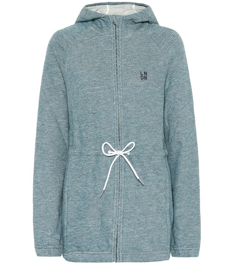 Lndr Astroid Zip cotton-jersey hoodie in blue