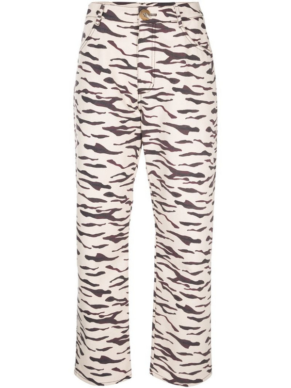 Rejina Pyo tiger print straight trousers in neutrals