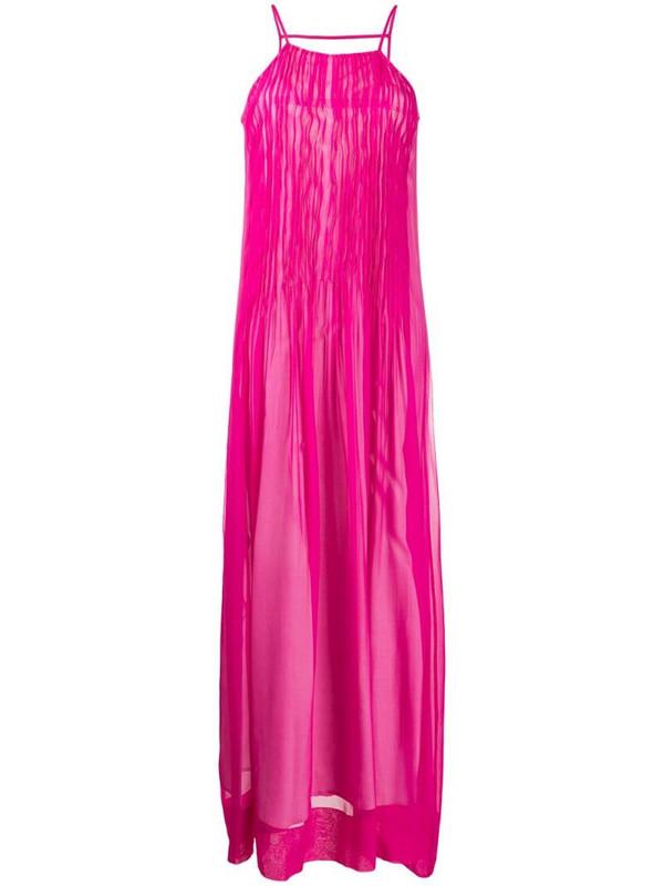 Erika Cavallini ruched silk maxi dress in pink