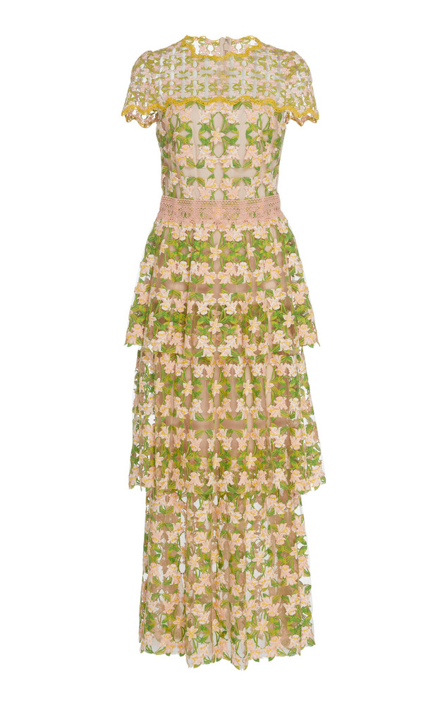 Monique Lhuillier Mirage Lace S/S Tiered Tea Length Dress in multi